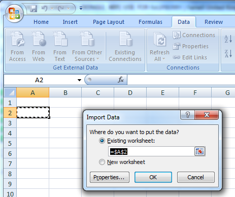 Select Import Data Cell