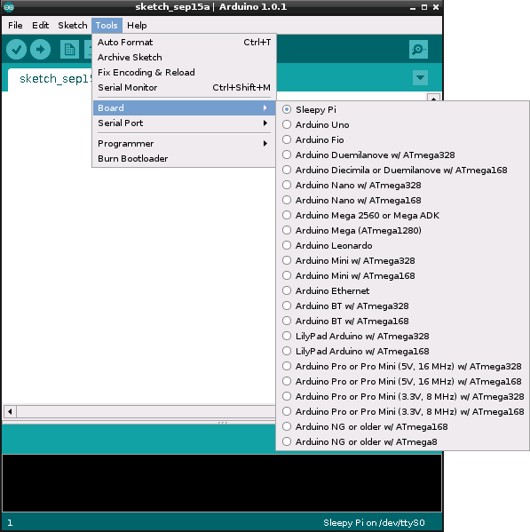 Select Sleepy Pi in the Arduino IDE