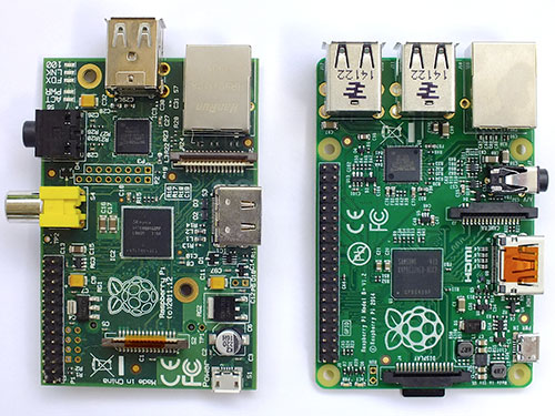 Raspberry Pi B and B+ side by Side