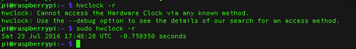 RTC Read error without sudo